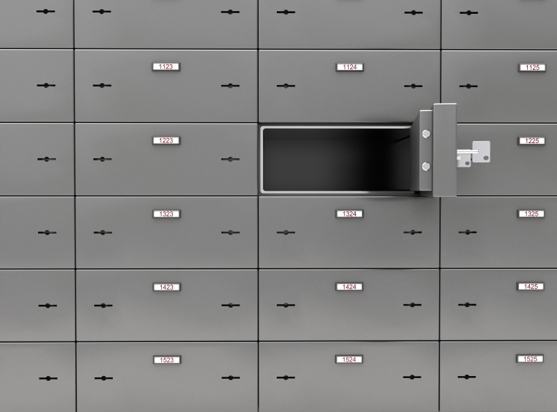 Safe Deposit Boxes. Digitally Generated Image