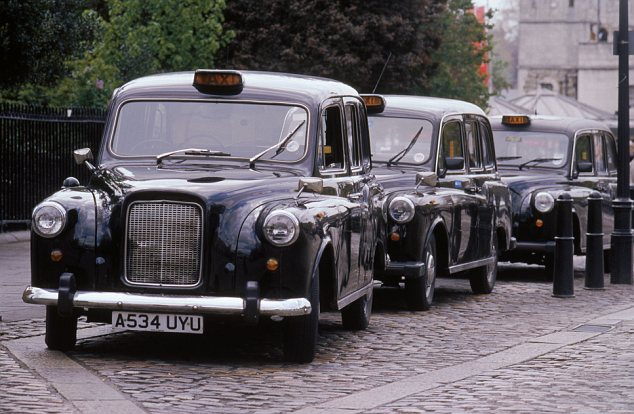 Black taxi cab rank, LOndon, England, Great Britain