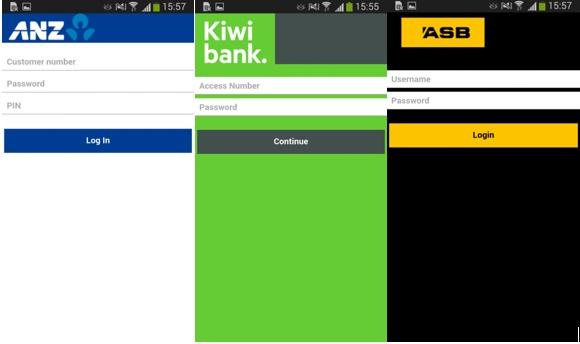 Поддельные экраны ввода логина и пароля мобильного банка