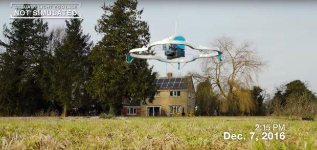 Первый клиент Amazon получил заказ на дроне (видео)