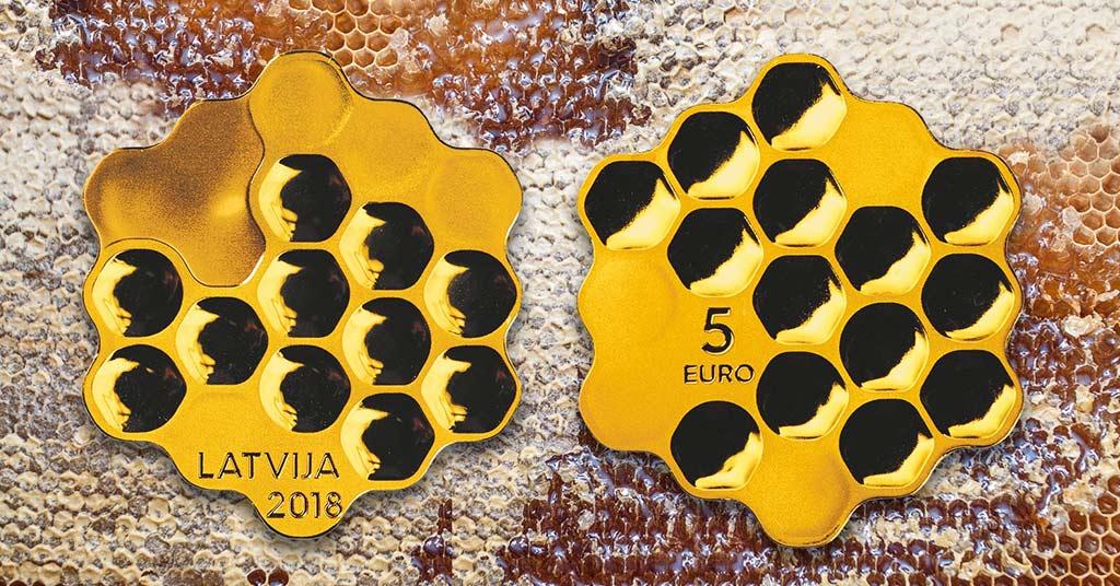 В Европе появилась монета в виде пчелиных сот (видео)