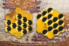 В Европе появилась монета в виде пчелиных сот