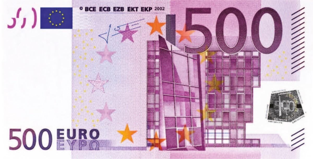 банкнота купюра 500 евро