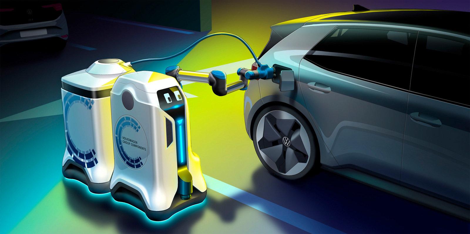 робот для зарядки электромобиля